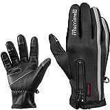 MACCIAVELLI Touchscreen Handschuhe Fahrrad Winter Männer (Schwarz - mit Reflektoren, L)