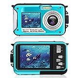 Unterwasserkamera zum Schnorcheln, wasserdichte 2,7K 24MP Digitalkamera, HD wiederaufladbare Kamera mit Doppelbildschirm für Camping, Unterwasser, Schwimmen,...