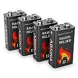 ABSINA Rauchmelder Batterie 9V Block - 4er Pack Alkaline 9V Block Batterien langlebig & auslaufsicher - Blockbatterien für Feuermelder, Bewegungsmelder,...