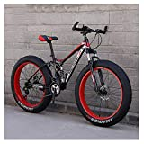 ZHTY Erwachsene Mountainbikes, Fat Tire Doppelscheibenbremse Hardtail Mountainbike, Big Wheels Fahrrad, High Carbon Carbon Frame Mountainbike