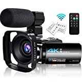 4K Videokamera Camcorder mit Mikrofon, WiFi IR Nachtsicht, Vlogging Kamera für YouTube Live-Streaming, Ultra HD 48MP 16X Digitalzoom,3.0 Inch Touchscreen...