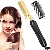 Haarglätter Bürste, Glättbürste mit Ionentechnologie, Keramikbeschichtung - Technologie Haarglätter für nasses und trockenes Haar (black gold)