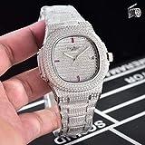 LESHARED Luxusmarke Neue Automatische Mechanische Herrenuhr Sapphire Full Iced Diamonds Transparent Silber Rose Gold Uhren Limited Sport3