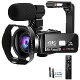 Videokamera 4K 48MP Camcorder mit WiFi 3,0-Zoll Touchscreen Nachtsicht Videokamera mit Mikrofon,Handstabilisator,Gegenlichtblende und Pausenfunktion für...