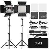 GVM LED-Panel, Videokamera / Studio LED Panel, App-Steuerung, Videolicht, zweifarbig, verstellbar, mit U-Halterung und Barndoor, für YouTube, Studio (560 2...