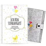 Ich bin schwanger! • Schwangerschaftstagebuch zum selber eintragen • Mit GRATIS Schutzhülle • Hardcover Tagebuch für die Schwangerschaft • Schönes...