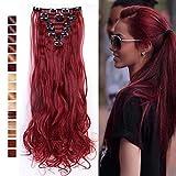 S-noilite® 24' Full-Kopf-Klipp in den Haar-Verlangerungen Ombre Gewellt Gelockt Haarverlängerungen Dip Dye 8Pcs Lang Haare Maroonmischendunkelrot