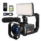 ORDRO AX60 Livestream-Camcorder 4K-Videokamera 12-Fach optisches Zoomobjektiv 3,5-Zoll-IPS-Touchscreen-Videorecorder Live-Broadcast-Camcorder mit...