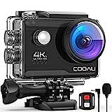 COOAU 4K Action Cam 20MP WiFi Sports Kamera Unterwasserkamera 40m mit Externs Mikrofon Fernbedienung Helmkamera Wasserdicht Digitale Videokamera mit EIS...
