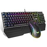 havit Mechanische Gaming Tastatur und Maus Set, RGB Hintergrundbeleuchtung QWERTZ (DE-Layout), Aluminiumoberfläche und Handballenauflage, 4800DPI RGB Gaming...
