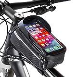 Velmia Fahrrad Rahmentasche [Wasserdicht] - Fahrrad Handyhalterung ideal fürs Navi - Fahrradtasche Rahmen mit/ohne Fingerabdrucksensor-Unterstützung für...