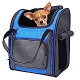 PETTOM Haustier Rucksack Haustiertragetasche Oxford Material Rucksack für Hund und Katzen, Verstellbarer und Faltbar Airline Genehmigt Hunde Rucksack für das...