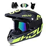 MRDEER Motocross Helm, Adult Off Road Helm mit Handschuhe Maske Brille, Unisex Motorradhelm Cross Helme Schutzhelm ATV Helm für Männer Damen Sicherheit...