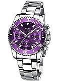Uhr Damen Chronographen Lila Edelstahl Wasserdicht Armbanduhr Leuchtende Analog Datum Business Beiläufig Damen Uhr