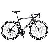 SAVANE Rennrad Carbon, Kriegswind3.0 Carbon Fork und CarbonRahmen Carbon rennrad mit Shimano SORA R3000 18Gänge Doppel-V-Bremse (Schwarz grau, 52cm)