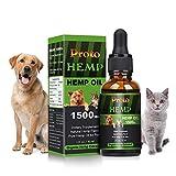 PROTO Hanf | 100% natürliches und biologisches Hanföl für Hunde & Katzen | Reich an Vitamin E, B & Omega 3, 6 & 9 | (1500 mg / 30 ml)