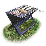 Relaxdays Klappgrill, mit Kohle-und Grillrost, klappbarer Faltgrill, Picknick und Camping, HBT 30x45,5x30cm, schwarz
