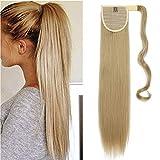 Ponytail Extensions Pferdeschwanz Haarverlängerung Haarteil Clip in Zopf Extensions Synthetische Haare wie Echthaar Glatt 26'(65cm) Blond 100g
