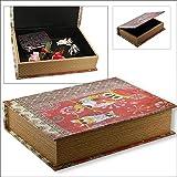 """Box im Buch Look Midi: Diese Aufbewahrungs-Box im """"Buch-Look"""" ist solide aus Holz gefertigt und außen attraktiv im Retrolook mit einem Eulen-Motiv ... ......"""