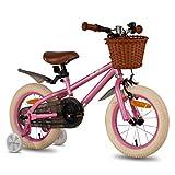 HILAND ins Star 16 Zoll Kinderfahrrad |für Mädchen Jungen 3-7 Jahre mit Stützräder, Handbremse und Rücktritt rosa
