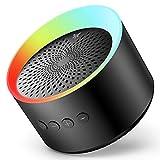 Axloie Bluetooth Lautsprecher, Musikbox Tragbarer LED Bluetooth Box mit Freisprechfunktion für Handy und PC, Fantastischer Sound und intensiver Bass (Schwarz)