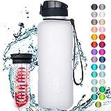 """720°DGREE Trinkflasche """"uberBottle"""" softTouch +Früchtebehälter - 1,5L - BPA-Frei - Wasserflasche für Sport, Fitness, Outdoor, Wandern - Große..."""