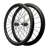 ZCXBHD 700C Scheibenbremse Cyclocross Rennrad Radsatz Kohlefaser Öffnen Fett Rand Rad Durch Die Achse Fahrrad Rad 7 8 9 10 11 12 Fach (Color : Black, Size :...