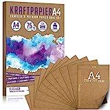 75 + 5 Blatt Kraftpapier A4 - 300 g - 21 x 29,7 cm - Bedruckbar - DIN Format, Naturkarton & DIY Deko Bastelpapier Pappe Blätter aus Kraftkarton zum Basteln...