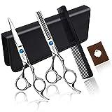 Qhui Haarschere Set, 2 Extra Scharfe Haarschneideschere mit Etui, Licht Friseurscheren mit Einseitiger Mikroverzahnung, Perfekter Effilierschere für Damen und...