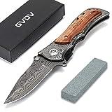 GVDV Taschenmesser mit Spitzer - Klappmesser 7Cr17 Edelstahl-Taktikmesser, Outdoor Survival Messer für Camping Jagd Angeln, mit titanbeschichteter Klinge,...