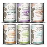 MjAMjAM - Premium Nassfutter für Hunde - Mixpaket II - mit Huhn & Ente, Rind, Pute, Kalb, Truthahn, Lamm, 6er Pack (6 x 400 g), getreidefrei mit extra viel...