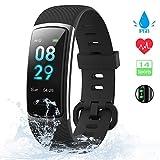 KUNGIX 【Neuestes Modell】 Fitness Armband, Schrittzähler Uhr IP68 Wasserdicht Smartwatch Fitness Tracker mit Pulsmesser Smart Watch für Damen Herren Kinder...