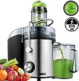Entsafter für Obst und Gemüse aus Edelstahl, große 95 mm Einfüllöffnung inkl. Reinigungsbürste und Saftbehälter 3 Geschwindigkeitsstufen, Saftpresse...