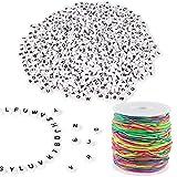 Aoligei 1200 Stück Buchstabenperlen mit 50m Elastische Schnur 1mm Regenbogen Perlenschnur DIY Handwerk Beading Cord String Perlen zum Auffädeln Kinder für...