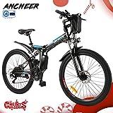 ANCHEER Elektrofahrrad 2019 Plus Faltbares Mountainbike, 36V 8Ah/12Ah Lithium-Batterie26 Reifen Elektrisches Fahrrad Ebike mit 250W bürstenlosem Motor und...