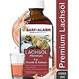 barf-alarm Premium Lachsöl für Hunde 1 Liter mit Omega 3 und Omega 6 Fettsäuren – Fischöl für den Hund & Katze – Barf Lachs für Welpen Adulte...