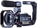 Videokamera 4K Camcorder ORDRO WiFi Ultra HD Vlog Kamera für YouTube, IR Nachtsicht Videorecorder mit Mikrofon, Weitwinkelobjektiv, Gegenlichtblende, 2...