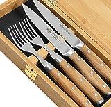 """Steakchamp Premium Steakbesteck """"4 Musketeer"""", Deutscher Carbonstahl (rostfrei), 2 Steakmesser und 2 Steakgabeln in schöner Geschenkbox, Holz, 20cm"""