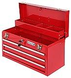 Werkzeugkoffer Werkzeugkasten leer Werkzeugkiste komplett abschließbar + Antirutschmatten + 3 Schubladen kugelgelagerte Fächer tragbar Metall Werkzeugbox Werkzeug Aufbewahrung
