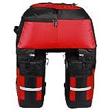 Lixada Multifunktion Fahrrad Gepäcktaschen, 3 in 1 Reißfest 70L Groß Fahrradtaschen für den Rücksitz (Rot)