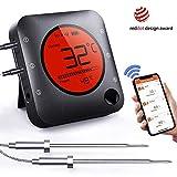 BFOUR Bluetooth Grillthermometer, Digital Funk BBQ Thermometer mit 2 Sonden Fleischthermometer Bratenthermometer 2 Temperaturfühlern mit Alarm Geschenk für...