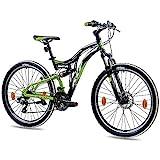 KCP 26 Zoll Mountainbike Fahrrad - MTB Fairbanks schwarz grün- Vollfederung Jugendrad Mountain Bike Unisex für Jungen Herren und Damen, MTB Fully mit 21 Gang...