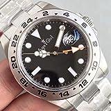 NSBKSB Herren-Armbanduhr, automatische mechanische Uhr, schwarz, weiß, Edelstahl, Saphir, Taucheruhr, Sportuhr, 40 mm, 44 mm, Herren, schwarz 44MM