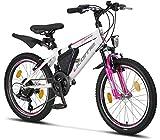 Licorne Bike Guide Premium Mountainbike in 20 Zoll - Fahrrad für Mädchen, Jungen, Herren und Damen - 18 Gang-Schaltung - Weiß/Rosa