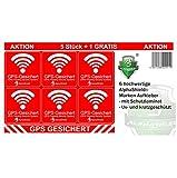 6 Stück GPS Aufkleber Innen-oder Außenklebend Fahrrad Motorrad Baumaschinen Auto LKW Alarm Warnung Anti Diebstahl Sticker Tracker gesichert R048...