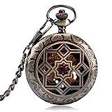 Taschenuhr, Symmetrie Carving Grilles Mechanische Uhren Aufwickeln hohl für Herren Damen Geschenke Kupfer Retro Anhänger, Taschenuhren für Herren...