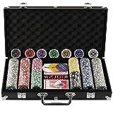 Display4top Pokerkoffer 300 Chips Laser Pokerchips Poker 12 Gramm , 2 Karten, Händler, Small Blind, Big Blind Tasten und 5 Würfel, Schwarz mit...