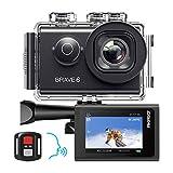 AKASO Brave 6 Action Cam 4K 20MP WiFi Sprachsteuerung EIS Anti-Shake 30 Meters wasserdicht Unterwasserkamera Fernbedienung 6X Zoom Sports Helmkamera mit 2...