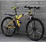Mountainbike Falträder, 26' 30Gang Doppelscheibenbremse Vollgefedert Antislip, Leichter Aluminiumrahmen, Federgabel (Farbe: Gelb, Größe: A)