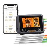 Inkbird WLAN & Bluetooth Grillthermometer IBBQ-4BW, WiFi Fleischthermometer mit 4 Temperaturfühlern + Magnethalter, USB-Wiederaufladbares Bratenthermometer mit...